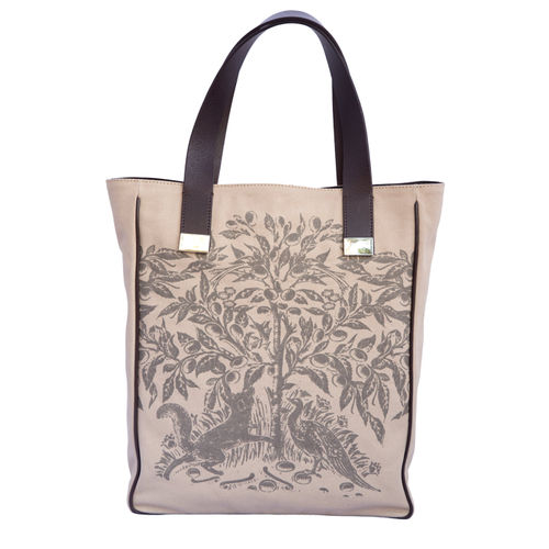 WOMENS CANVAS AND LEATHER PRINTED TOTE