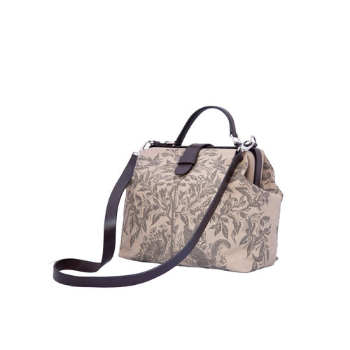 WOMENS CANVAS AND LEATHER PRINTED HANDBAG