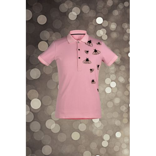 Pink Embroidered Polo