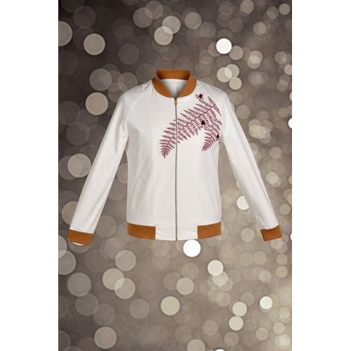 Off White Embroidered Bomber Jacket