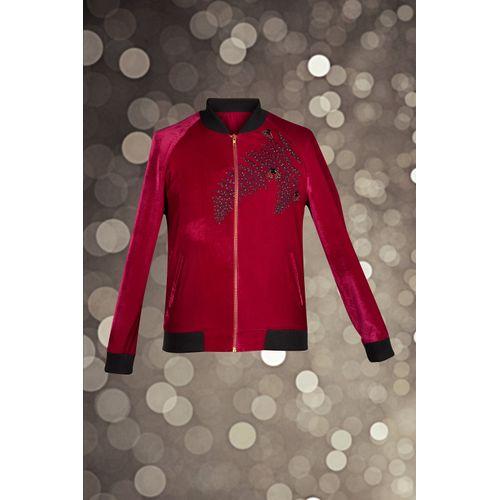 Fuchsia Embroidered Bomber Jacket