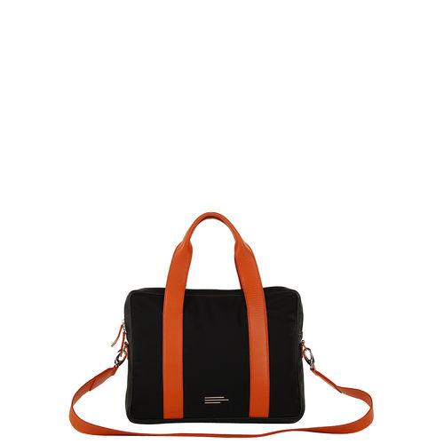 Unisex nylon and leather laptop bag