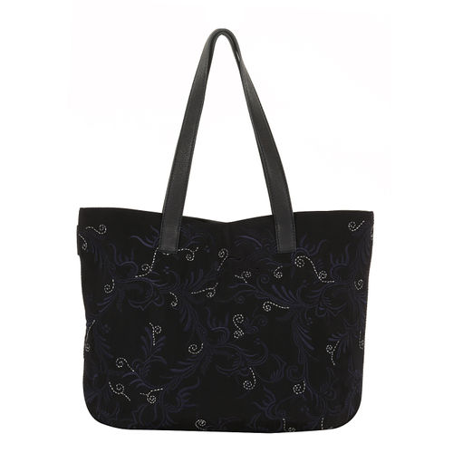 Womens nylon and leather embroidered handbag