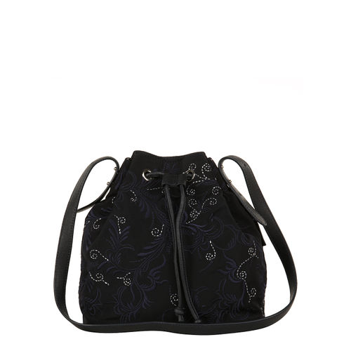 Womens nylon and leather embroidered drawstring bag
