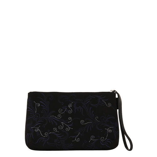 Womens nylon and leather embroidered pouch