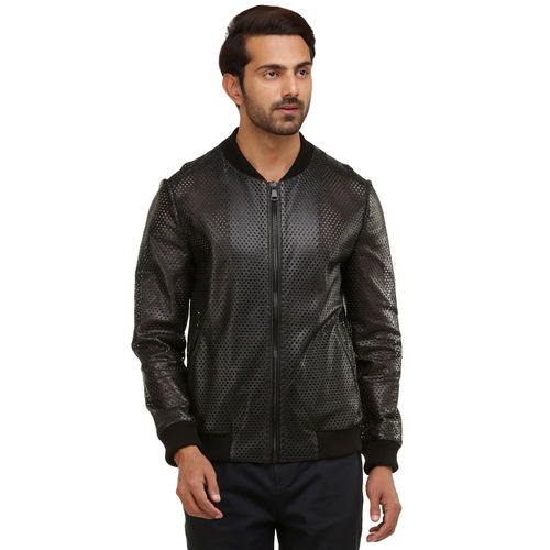OpArt Leather Bomber