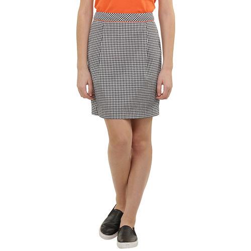 cutout check skirt