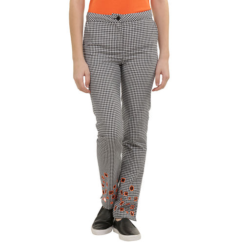 cutout check trousers
