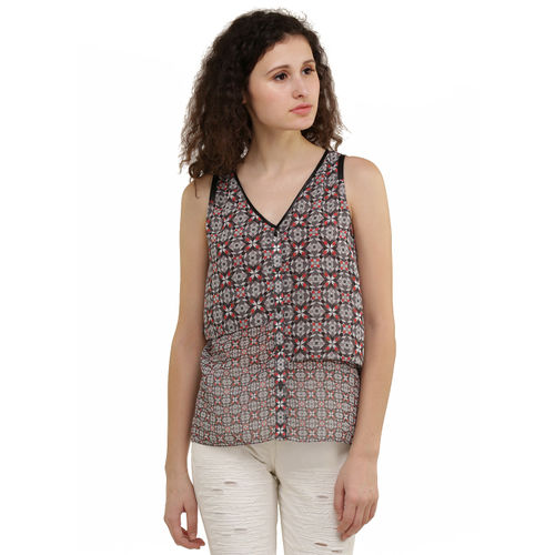 Stain Glass Print Layered Top