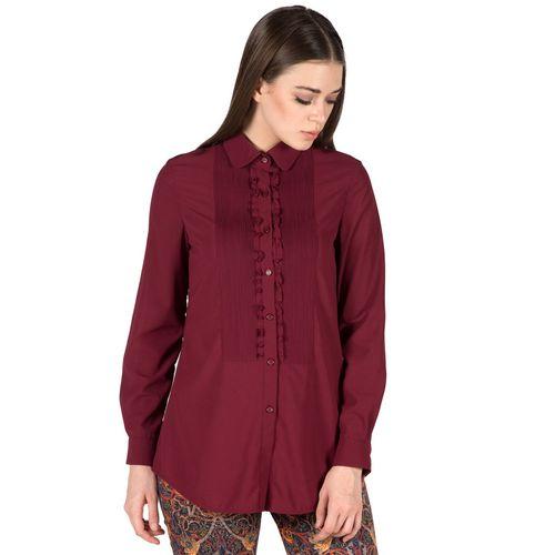 Burgundy pintucks shirt