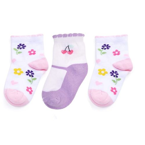 94761a67 Footprints Super Soft Organic Cotton Baby Girl Socks- Pack Of 3 - 6 ...