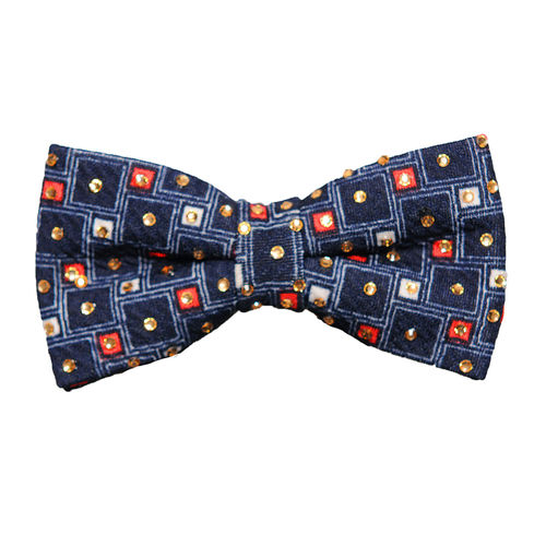 a2e158ef8afe Blue Designer Microfiber Partywear Bow Tie with Crystal Stone for Men