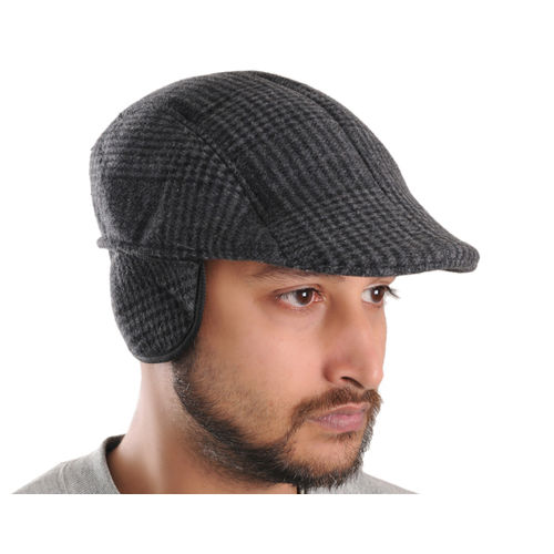 Grey Patterned Warm Semi Woolen Golf Cap With Ear Flaps for Wind   Cold  Protection for Men ea4a01ae53db