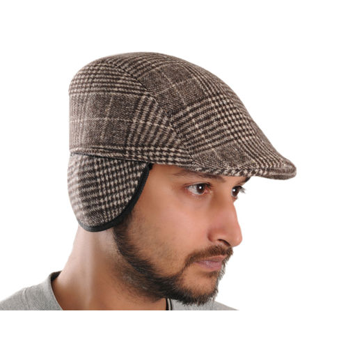 Brown Patterned Warm Semi Woolen Golf Cap With Ear Flaps for Wind   Cold  Protection for Men 742a67398266