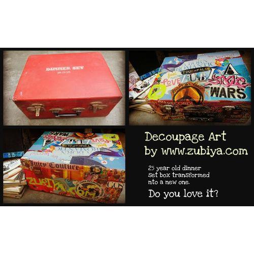 decoupage art on box custom