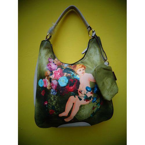 flower painting hand-bag