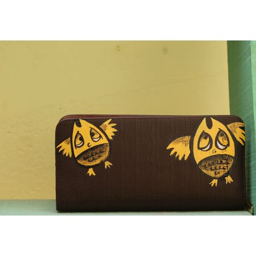 maple yellow owl wallet