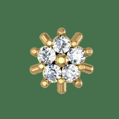 Dishi 18Kt Yellow Gold Diamond Laina Nose Pin