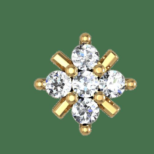 Dishi 18Kt Yellow Gold Diamond Nagi Nose Pin