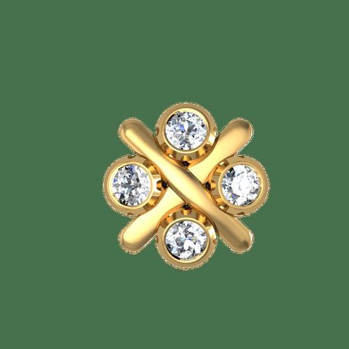 Dishi 18Kt Yellow Gold Fish Diamond Nose Pin