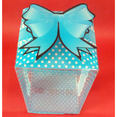 Blue Polka Dot Box With Ribbon Bow
