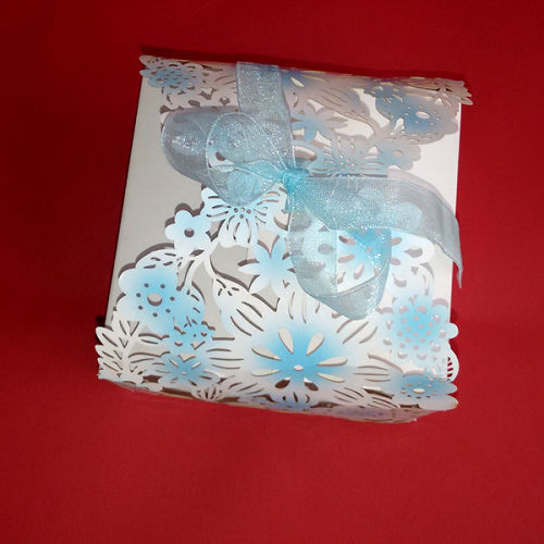 Sky Blue Laser Cut Lace Flower Chocolate Box