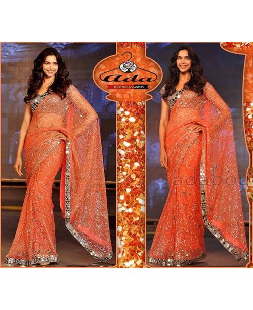 Deepika Orange Net Saree