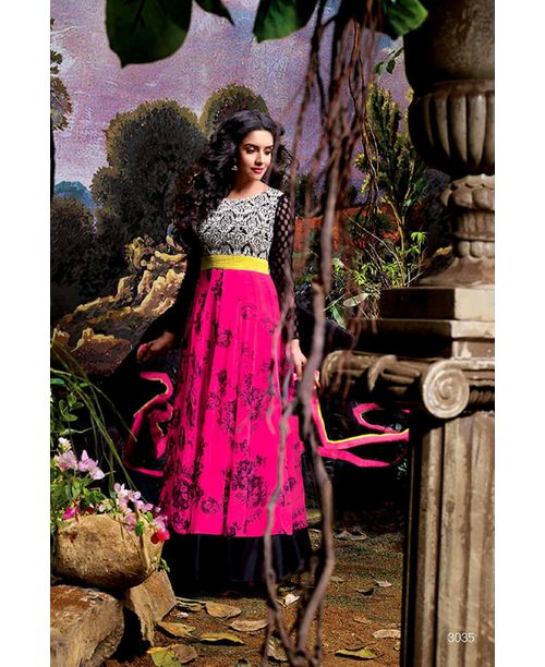 Asin Original Stylish Pink /Black Anarkali