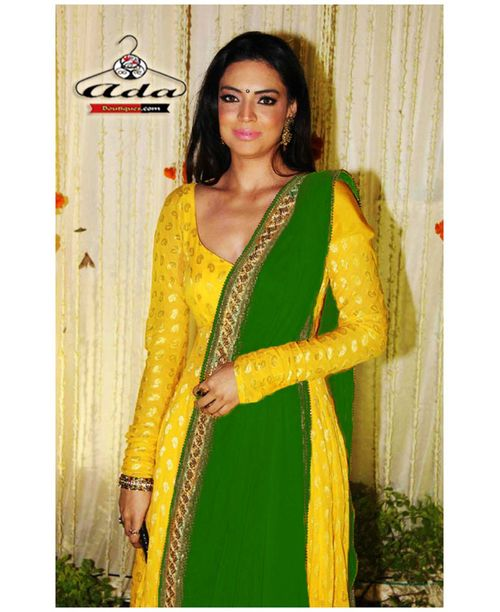 Sizzling Banarasi Yellow/Green Dress