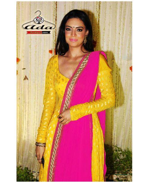 Sizzling  Yellow/Pink Banarsi Dress