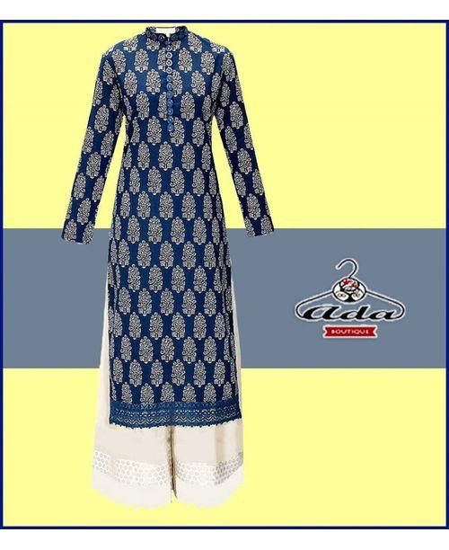 Blue Block Print Casual Dress
