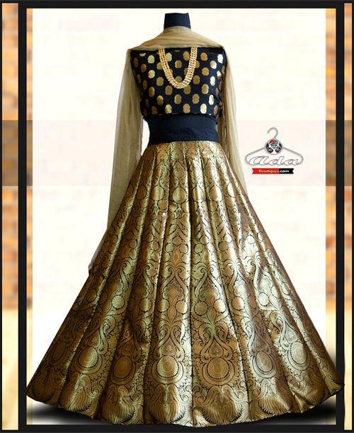 Black/Golden Banarasi Lehenga Dress