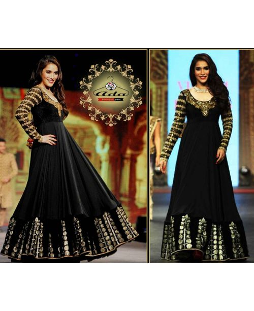 Stylish Black/Golden Anarkali Gown
