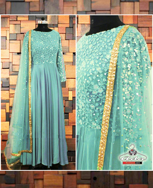 Light Blue Embroidered Anarkali Dress