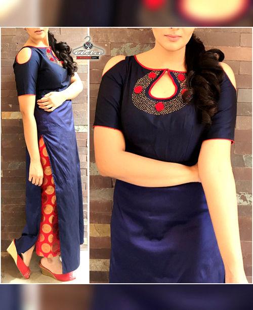Trendy Blue/Red  Dress