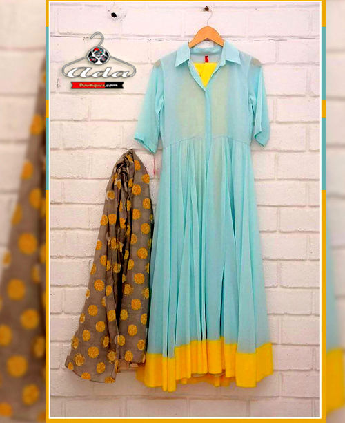 Blue/Yellow Anarkali Dress
