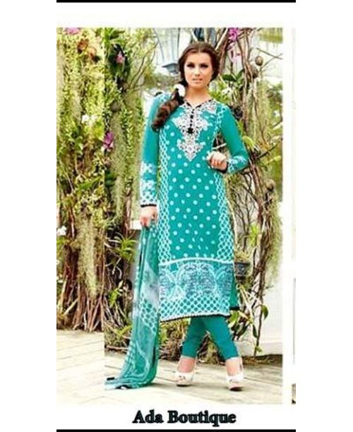 Turquoise Exclusive Cotton Suit with Stylish Dupatta