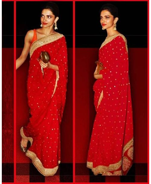 Sizzling Red Golden Saree