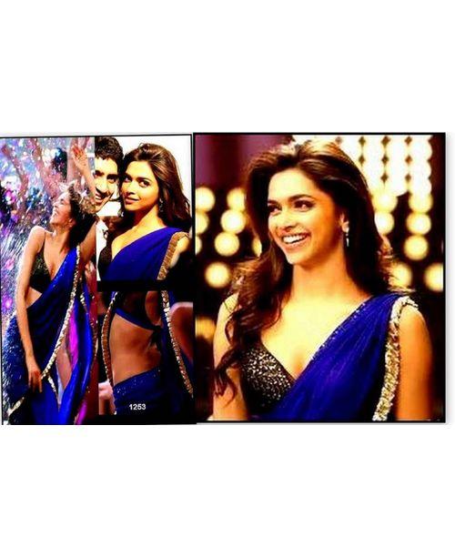 Deepika Jawani Diwani Blue Georgette Saree