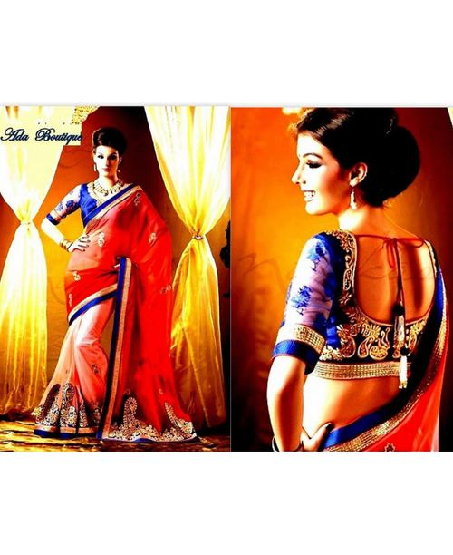 Designer Net Saree with shading on georgette Pallu