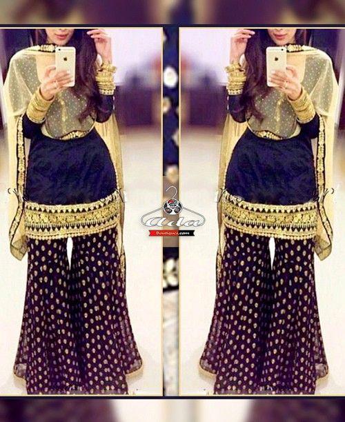 Navy Blue/Beige Sharara Dress