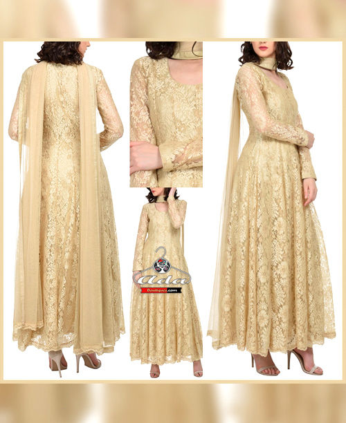 Golden Fancy Flower Net Dress