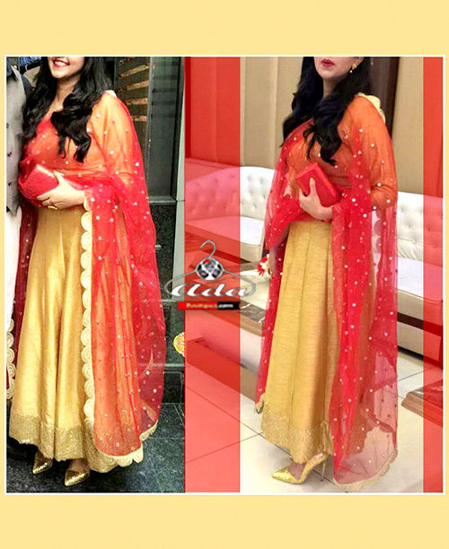 Golden/Red Anarkali
