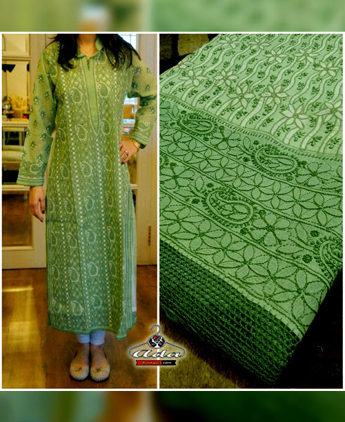 Exclusive Green Lucknowi Chikan Kurta / Bottom Dress