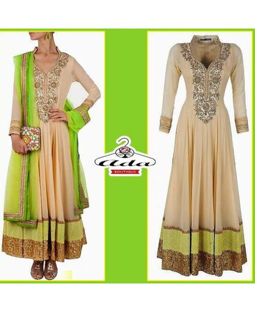 Green /Beige Anarkali Dress