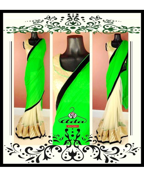 Designer Net Saree with Green Georgette Pallu