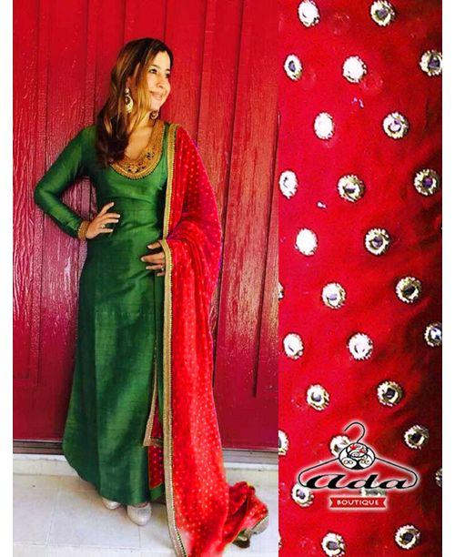 Stylish Green /Red Dress