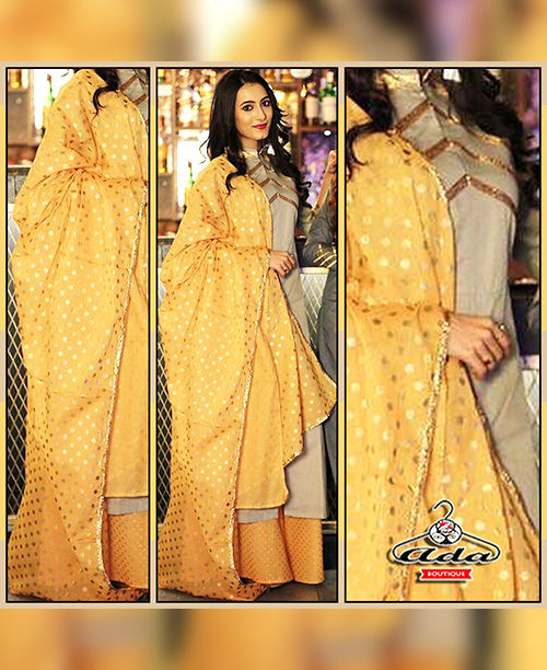 Ethnic Grey/Yellow Dress