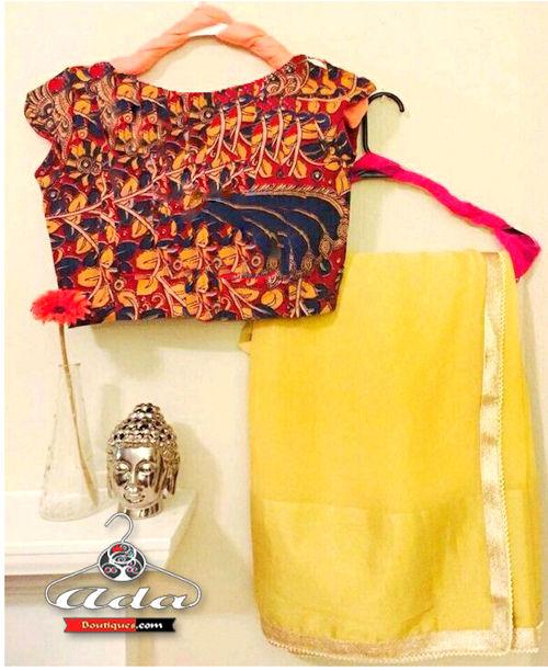 Yellow Saree With Blouse Set