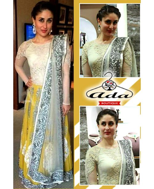 Sizzling Kareena Yellow/white Dress